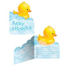 Bubble Bath Duck 8 Baby Shower Invitations Rubber Ducky