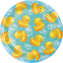 "Bubble Bath Duck 8 7"" Dessert Cake Plates Baby Shower Rubber Ducky"