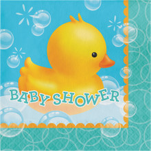 "Bubble Bath Duck 16 Lunch Napkins ""Baby Shower"" Rubber Ducky"