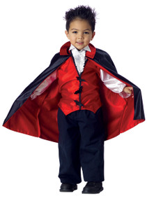 Vampire Halloween Costume Toddler 3-4 Medium Bonus Clip on Safety Light