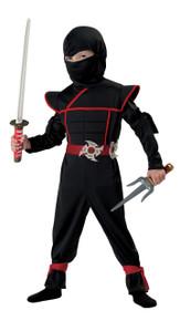 Black Stealth Ninja Halloween Dress Up Play Costume Toddler 3-4 Bonus Toy and Light