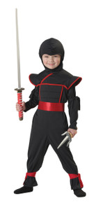Black Stealth Ninja Halloween Dress Up Play Costume Toddler 4-6 Bonus Toy and Light
