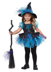 Darling Little Witch Halloween Dress Up Play Costume Toddler 4-6 Bonus Safety Light