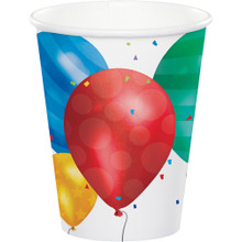 Balloon Blast 8 Ct Paper 9 oz Hot Cold Cups Birthday Retirement Grad Party