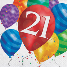 Balloon Blast 16 Ct 21 Luncheon Napkins 21st Birthday Party