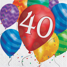 Balloon Blast 16 Ct 40 Luncheon Napkins 40th Birthday Party
