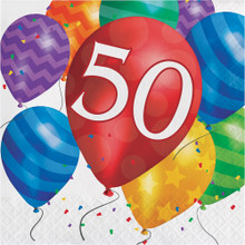 Balloon Blast 16 Ct 50 Luncheon Napkins 50th Birthday Party