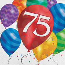 Balloon Blast 16 Ct 75 Luncheon Napkins 75th Birthday Party