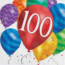 "Balloon Blast 16 Ct ""100"" Luncheon Napkins 100th Birthday Party"
