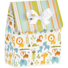 Happi Jungle Baby Shower 12 Ct Favor Bags with Ribbon Stripes and Animals
