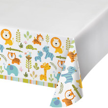 Happi Jungle Baby Shower Plastic Tablecover 54 x 102 1st Birthday