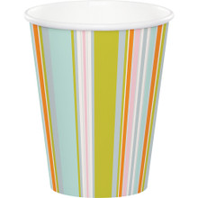 Happi Jungle  8 Ct Paper 9 oz Cups Stripes 1st Birthday Baby Shower