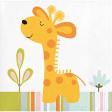 Happi Jungle  16 Ct Beverage Napkins Giraffe 1st Birthday Baby Shower