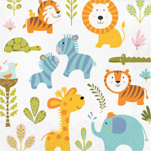 Happi Jungle Print 16 Ct Luncheon Napkins 1st Birthday Baby Shower