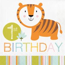 Happi Jungle 16 Ct Luncheon Napkins 1st Birthday Tiger