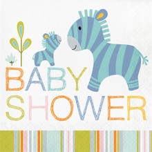 Happi Jungle 16 Ct Luncheon Napkins Baby Shower Zebra