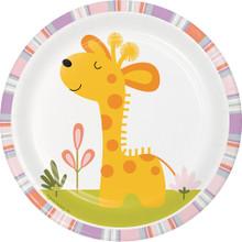 "Happi Jungle 8 Ct 7"" Dessert Plates Giraffe 1st Birthday Baby Shower"