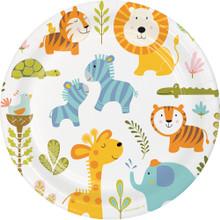 "Happi Jungle 8 Ct 9"" Dinner Plates 1st Birthday Baby Shower"