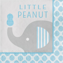 """Little Peanut"" Boy  16 Luncheon Napkins Blue Elephant Baby Shower"
