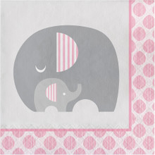 Little Peanut  Girl 16 Luncheon Napkins Pink Elephant Baby Shower