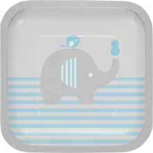 "Little Peanut Boy 8 7"" Square Luncheon Deep Dish Plates Blue Elephant Baby Shower"