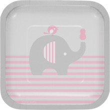 "Little Peanut Girl 8 7"" Square Luncheon Deep Dish Plates Pink Elephant Baby Shower"