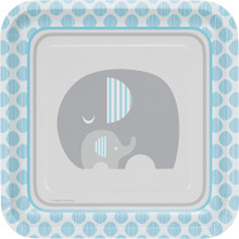"Little Peanut Boy 8 9"" Square Dinner Deep Plates Blue Elephant Baby Shower"