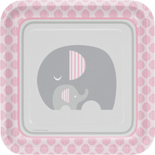 "Little Peanut Girl 8 9"" Square Dinner Deep Plates Pink Elephant Baby Shower"