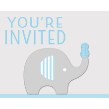 Little Peanut Boy 8  Invitations Blue Elephant Baby Shower