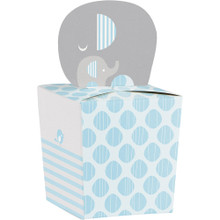 Little Peanut Boy 8 Favor Boxes Blue Elephant Baby Shower