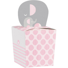 Little Peanut Girl 8 Favor Boxes Pink Elephant Baby Shower