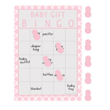 Little Peanut Girl 10 Guest Bingo Game Pink Elephant Baby Shower