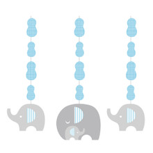 Little Peanut Boy 3 Hanging Cutouts Blue Elephant Baby Shower