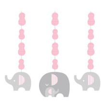 Little Peanut Girl 3 Hanging Cutouts Pink Elephant Baby Shower