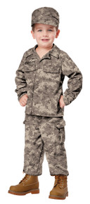 Camo Soldier Halloween Costume Toddler 3-4 Bonus Clip on Safety Light