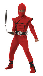 Red Stealth Ninja Halloween Costume Child 10 - 12 LP Large Plus BONUS Toy