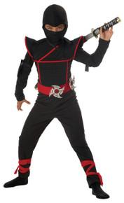 Black Stealth Ninja Halloween Costume Child 10 - 12 LP Large Plus  Bonus Toy