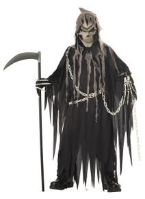 Mr Grim Reaper Halloween Costume Child XL 12 - 14 Glow in Dark