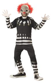 Creepy Clown Halloween Costume Child XL 12 - 14 Glow in Dark Bonus Safety Light