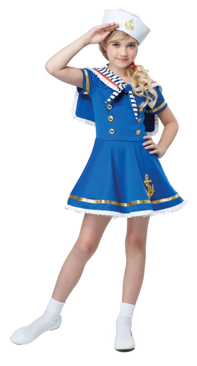 Image 1  sc 1 st  Mardi Gras Party Sales & Sunny Sailor Girl Halloween Costume Dress Up Play Child S 6 - 8