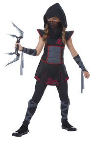 Fearless Ninja Warrior Halloween Costume Child M 8 - 10 Black Red Safety Light Bonus