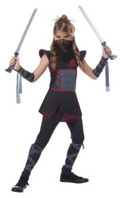 Fearless Ninja Warrior Halloween Costume Child XL 12 - 14 Black Red Bonus Safety Light