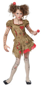 Voodoo Dolly Halloween Costume Tween  L 10 - 12 Bonus Clip on Safety Light