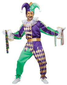 Mardi Gras Jester Halloween Costume Adult Men L 42 - 44 Bonus Beads