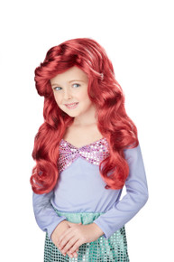 Lil' Mermaid Red Wig Halloween Dress up Costume Hair