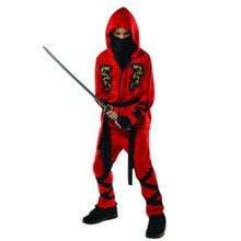 Fire Dragon Red Ninja Costume Child Boys Medium 8 -10
