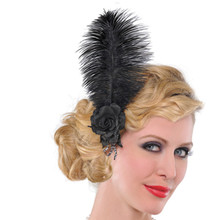 Hairclip Roaring 20's Jazzy Flapper Black Rose Feather