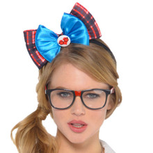 Nerd Geek Chic Plaid Bow Headband Plaid