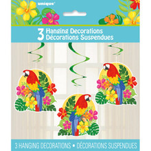 Tropical Island Luau Party 3 Hanging Swirl Decorations Parrot