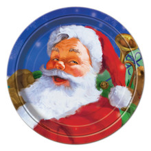 "Holiday Santa 8 Christmas Paper 7"" Dessert Cake Plates Party"